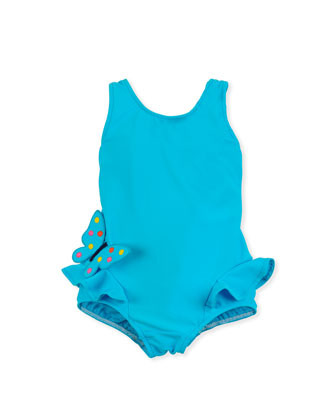 Butterfly Social One-Piece Swimsuit, Turquoise, 2T-4T