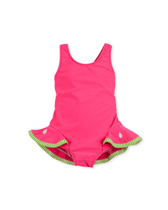 Watermelon Slice One-Piece Swimsuit, Red, 4-6X
