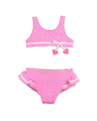 Heart Two-Piece Swimsuit, Pink, Sizes 4-6X