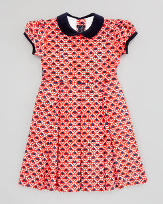Girls' Floral-Print Pleated Dress, Red, 2T-3T