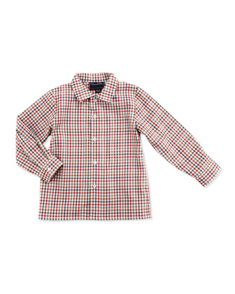 Toddler Boys' Grid-Check Shirt, Red Multi, 2Y-3Y