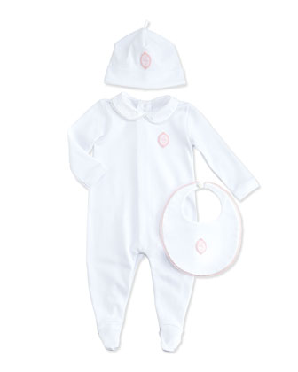 Footie, Hat & Bib Gift Set, Pale Rose, 3-12 Months