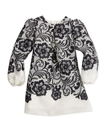 Lace-Print Long-Sleeve A-Line Dress, Black/White, Girls' 2T-6Y
