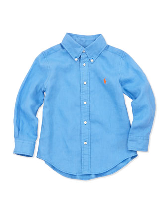Linen Long-Sleeve Blake Shirt, Blue, 4-7
