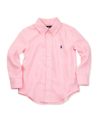 Linen Long-Sleeve Blake Shirt, Pink, 4-7