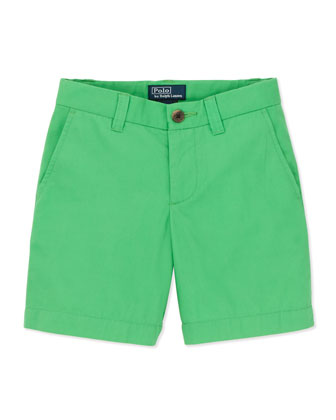 Preppy Cotton Shorts, Tiller Green, 4-7