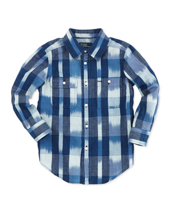 Long-Sleeve Matlock Shirt, Indigo/White, 2T-3T