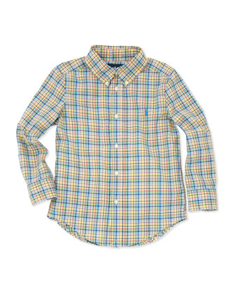 Plaid Long-Sleeve Blake Shirt, Yellow Multi, 2T-3T