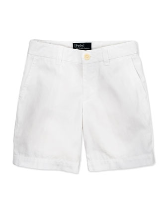 Preppy Cotton Shorts, White, 2T-3T