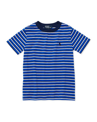 Striped Short-Sleeve Tee, Deep Royal, 2T-3T