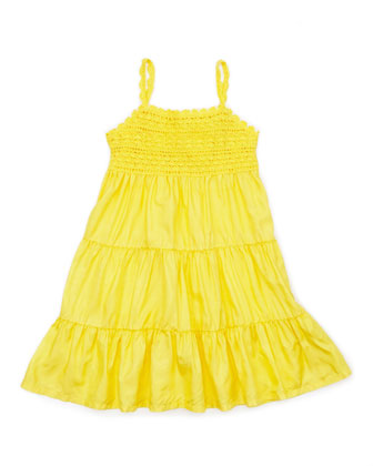 Crochet-Detail Sleeveless Sundress, Maitai Yellow, 2T-3T