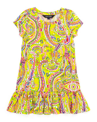 Paisley-Print Short-Sleeve T-Shirt Dress, Yellow, 2-3T