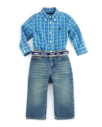 Plaid Shirt & Denim Jeans Set, Blue Multi, 9-24 Months