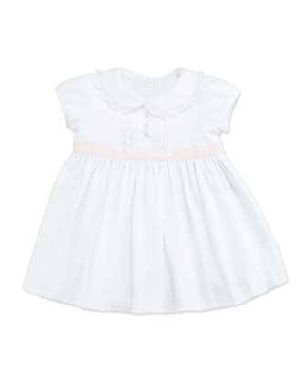 Contrast-Sash Jersey Dress, White, 3-9 Months