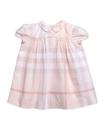 Check Smocked Dress, Light Pink, 3-24 Months