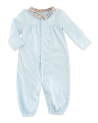 Newborn Check-Collar Long-Sleeve Playsuit, Light Blue