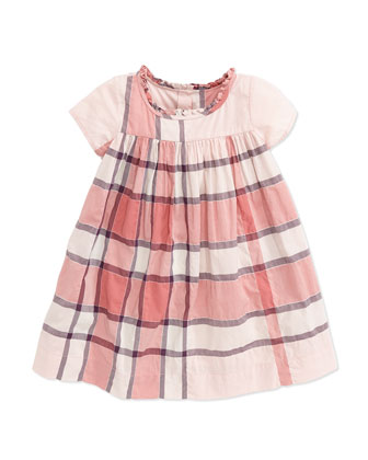 Check-Print Ruffle-Collar Dress, Pink, 3-18 Months