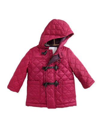 Quilted Nylon Toggle Coat, Magenta, 6-18 Months