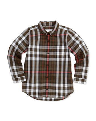 Plaid Patch-Pocket Long-Sleeve Shirt, Khaki, 4Y-10Y