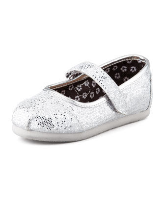 Tiny Glitter Mary Janes, Silver