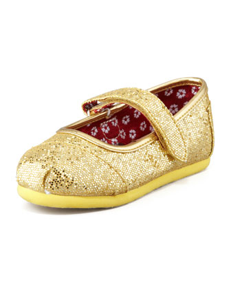 Tiny Glitter Mary Janes, Gold