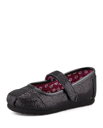 Tiny Glitter Mary Janes, Black
