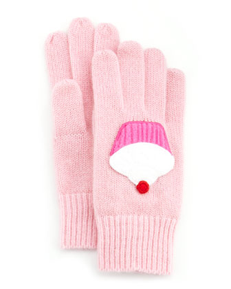 Girls' Cashmere Cupcake Gloves, Light Pink