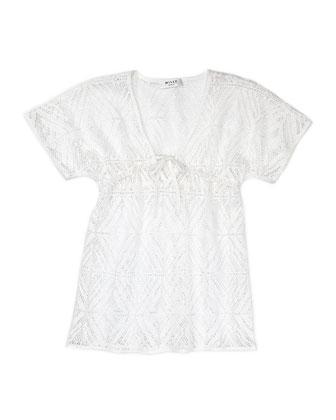 V-Neck Coverup, White, Sizes