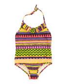 Raffia Geometric-Stripe One-Piece Swimsuit, Sizes 2-7