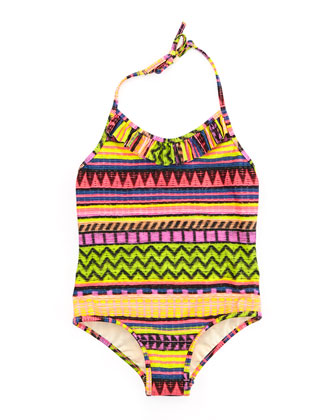 Raffia Geometric-Stripe One-Piece Swimsuit, Sizes 2-7