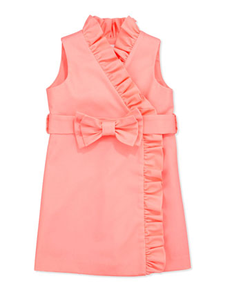Ruffle Wrap Dress, Coral, Sizes 8-10