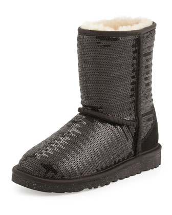 Kids Sparkles Classic Short Boot, Black, 1Y-13Y