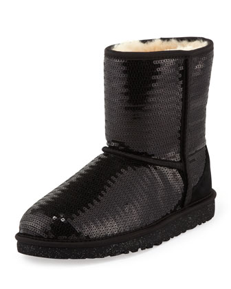 Kids Sparkles Classic Short Boot, Black, 5Y-6Y