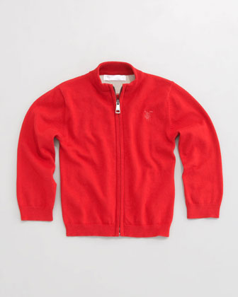 Zip-Front Sweater, Military Red, 6-18 Months