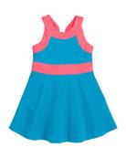 Ponte Circle Sleeveless Dress, Aqua/Pink