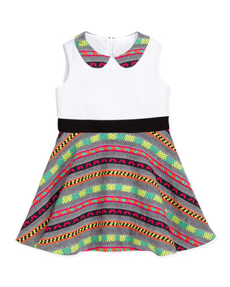 Neon-Striped Combo Dress, Multi, Sizes 8-10