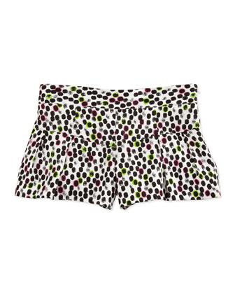Ocelot-Print Cotton-Sateen Shorts, Multi, Sizes 8-10