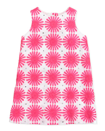 Flower Power Linen Shift Dress, Pink, Sizes 8-10