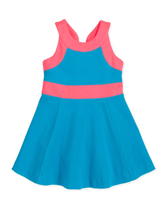 Ponte Circle Sleeveless Dress, Aqua/Pink, Sizes 8-10