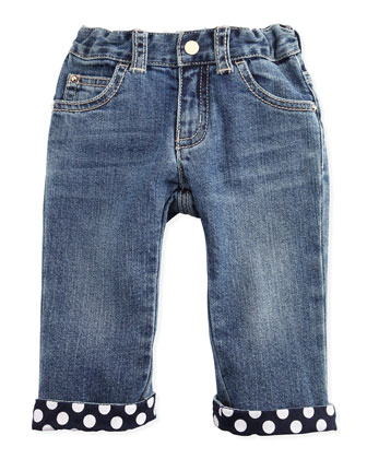 Denim Jeans with Polk-Dot Cuffs, 3-24 Months