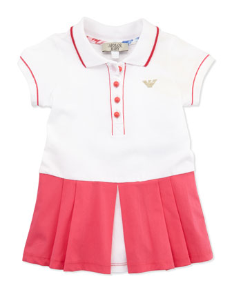 Colorblock Tennis Dress, Pink/White, 3-24 Months