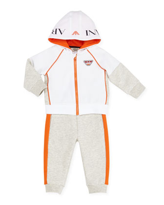 Two-Piece Track Suit, Orange/White/Gray, 3-24 Months