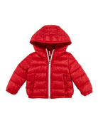 Dominic Stripe-Front Hooded Jacket, Red, 3-24 Months