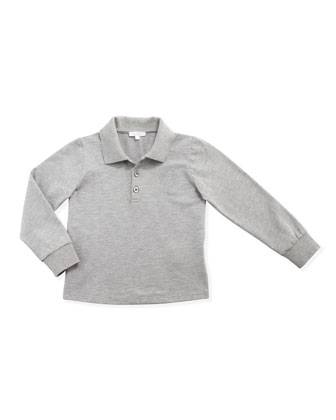 Long-Sleeve Pique Polo, Light Gray