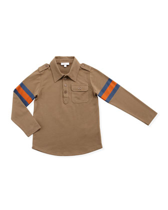 Long-Sleeve Jersey Polo, Brown