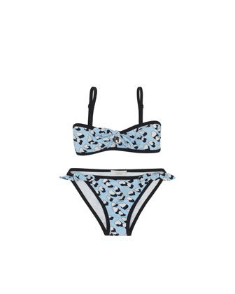 Hearbeat-Print Two-Piece Swimsuit, Sky Blue