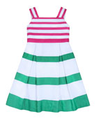 Girls' Grosgrain Ribbon Dress, Hot Pink, 2Y-6Y