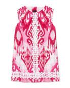 Ikat-Print Daisy-Trim Shift Dress, 2Y-10Y
