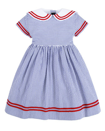 Seersucker Sailor Dress, Navy, 12-24 Months