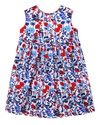 Baby Evora Floral-Print Sleeveless Dress, Navy
